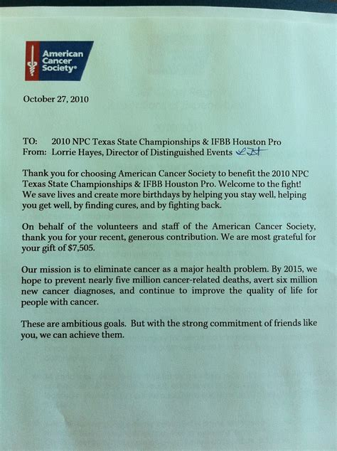 Thank You Letter For Donation To American Cancer Society Thompson Contest