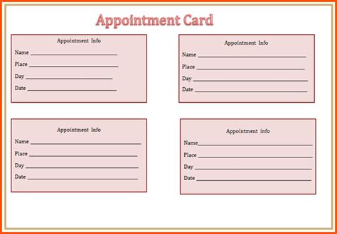 appointment reminder card template archives loadzonebas5