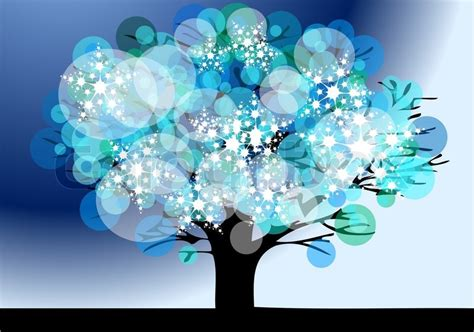 winter tree from snowflakes by the vector colourbox winter tree with snow flakes on the blue background stock vector colourbox