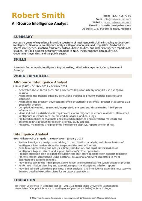 All Source Intelligence Analyst Sle Resume by All Source Intelligence Analyst Resume Sles Qwikresume