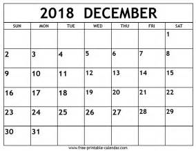 Calendar For 2018 December December 2018 Calendar Free Printable Calendar