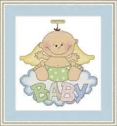 10 name embroidery angel baby cross stitch pattern