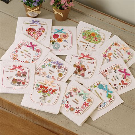 Handmade Greeting Cards For Friends Birthday - aliexpress buy 12 sets mini greeting cards