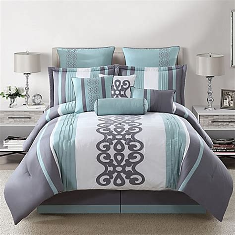kerri 10 piece comforter set in teal silver white www