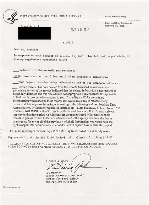 Fda Response Letter Exles Colloidal Silver Secrets Fda Admits No Proof Colloidal Silver Interferes With Absorption