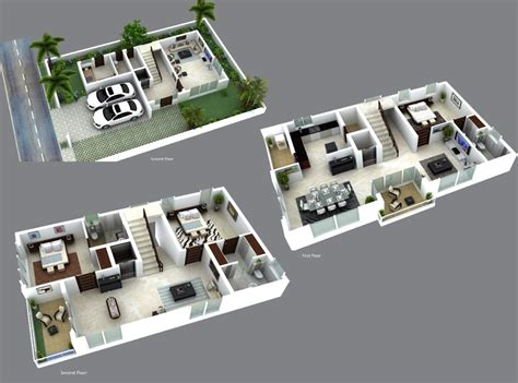House Design Plans 3d Up And Down 3d villa plans