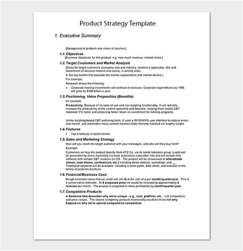 product paper template strategy paper template 7 for word excel