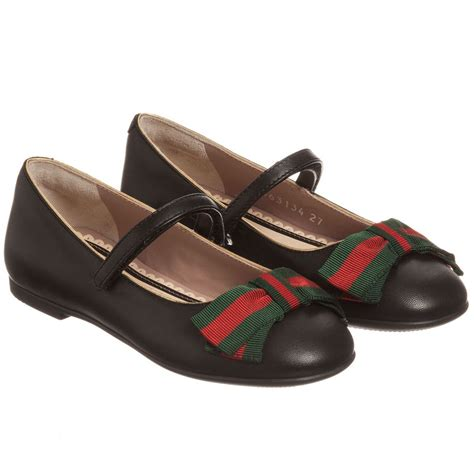 gucci black leather shoes with bow childrensalon