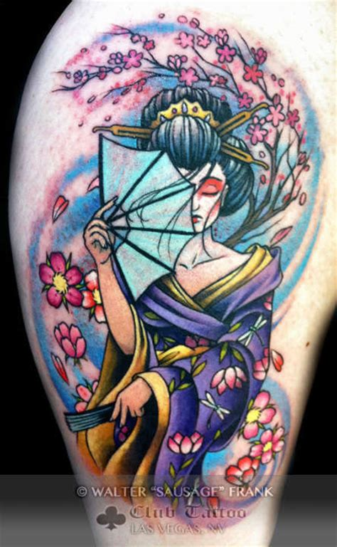 geisha tattoo with cherry blossoms sausage japanese geisha cherry blossoms