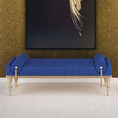 luxury bench luxury royal blue gold leaf upholstered bench