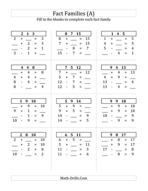Math Facts Practice Worksheets by Addition And Subtraction Relationships With Sums To 18 A