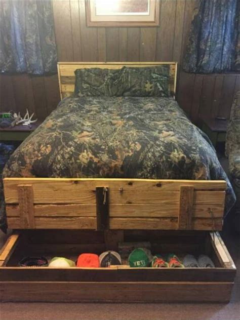pallet bed with storage diy pallet bed with end storage box 99 pallets