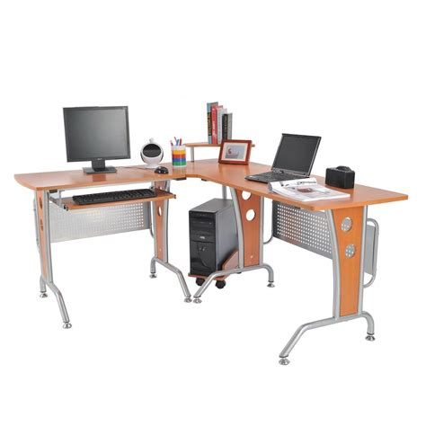 Media Workstation Desk by Homcom 61 In Modern L Shaped Office Workstation Computer Desk Kitchen Dining