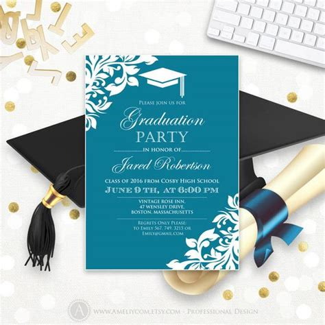 Printable Graduation Party Invitation Template Blue Teal High Grad Announcement Template