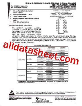 transistor uln2003a datasheet uln2003a datasheet pdf instruments