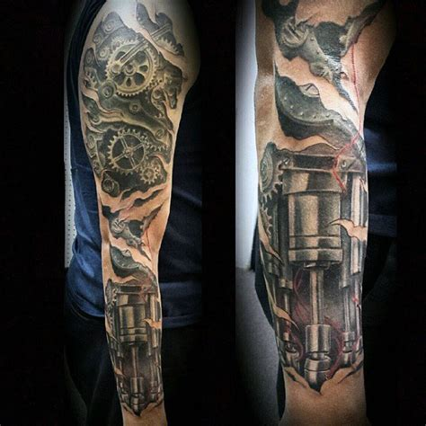 mechanical sleeve tattoo designs 50 mechanic tattoos for masculine robotic overhauls