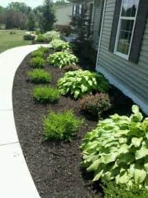 mulch and bushes like this i d do hosta grass hosta