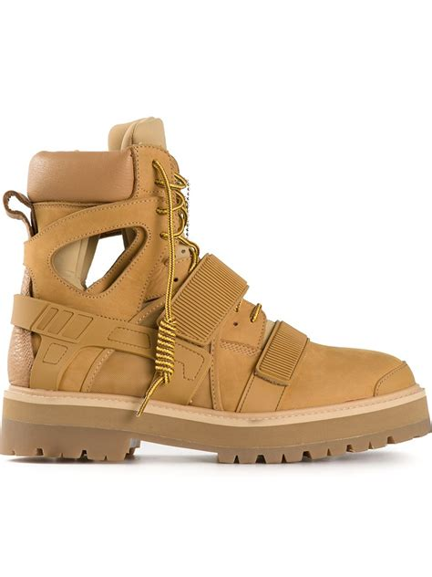 beige combat boots by air avalanche combat boots in beige for