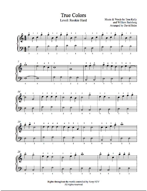 true colors by cyndi lauper piano sheet rookie level