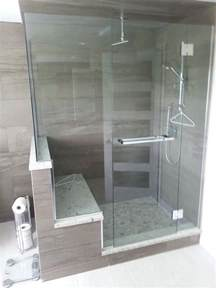 Shower with a bench seat chrome geneva hardware with