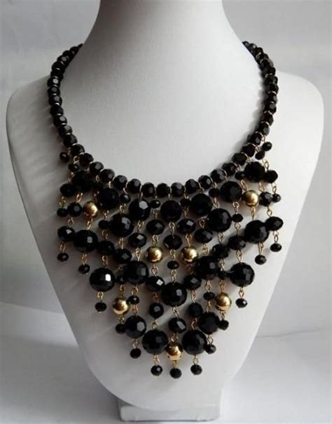 black beaded statement necklace black bib statement necklace necklace 2