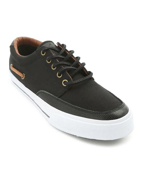 polo ralph mens sneakers polo ralph vance black sneakers in black for lyst