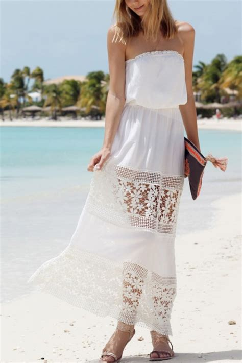 white strapless floral lace crochet maxi boho dress