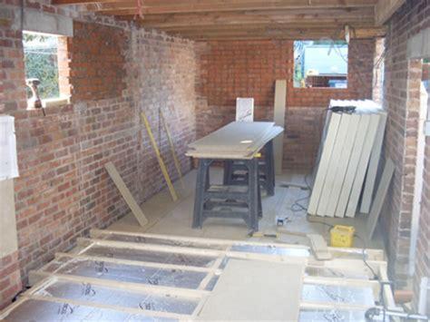 Garage Conversion Floor Construction by Sm Construction Garage Conversion Work In Progress