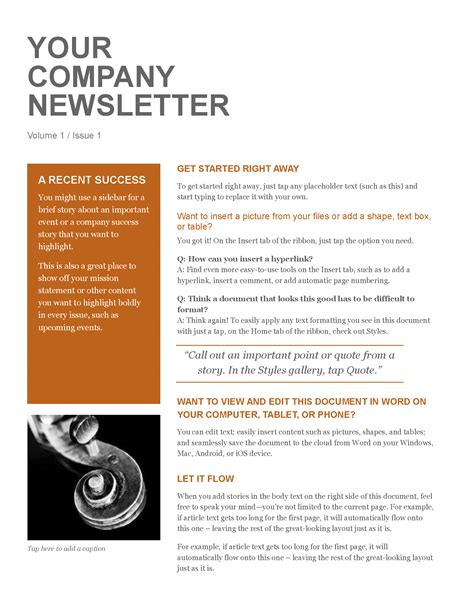 company newsletter template company newsletter office templates