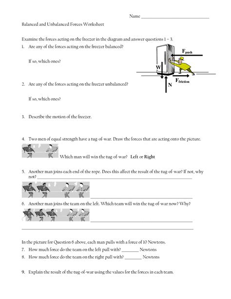 Balanced And Unbalanced Forces Worksheet Answers 13 best images of diagrams worksheets with answers