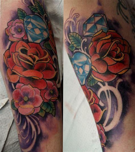 roses and diamonds tattoo roses and diamonds by mojoncio on deviantart