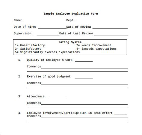 41 Sle Employee Evaluation Forms To Download Sle Templates Employee Evaluation Form Template