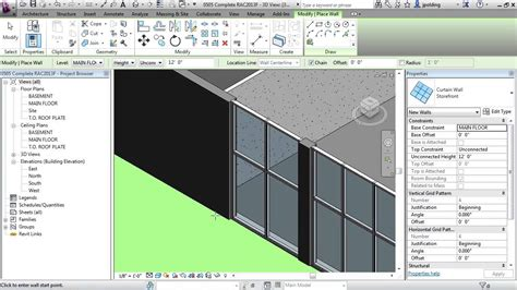 how to create a curtain wall in revit revit architecture 2013 tutorial curtain walls youtube