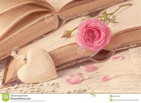 imagenes vintage baños pink flowers and old books royalty free stock image