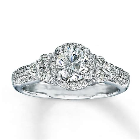 jared 14k white gold 1 1 8 carat t w engagement