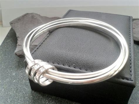 Handmade Silver Bangles Uk - personalised russian wedding bangle lucylou designs