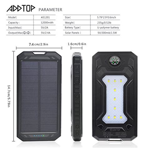 Power Bank Fifan solar charger 12000mah addtop portable solar power bank outdoor dual usb battery pack for
