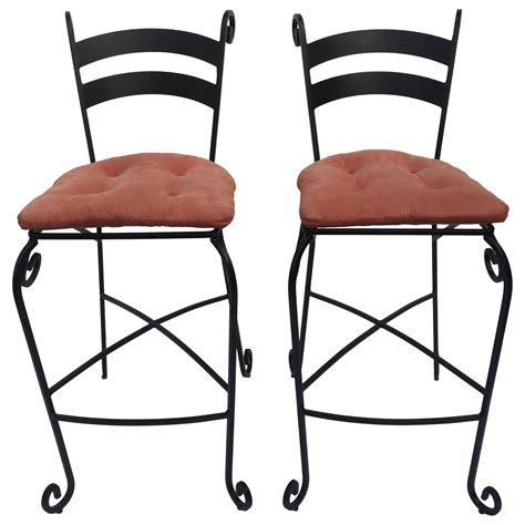 Wrought Iron Bar Stools For Sale by Pair Of Wrought Iron Bar Stools For Sale At 1stdibs