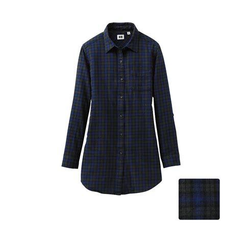 Uniqlo Flannel Shirt uniqlo flannel check sleeve shirt tunic a in blue green lyst