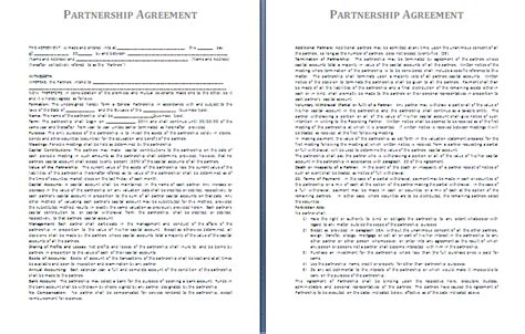 Partnership Agreement Template Mobawallpaper Ba Agreement Template