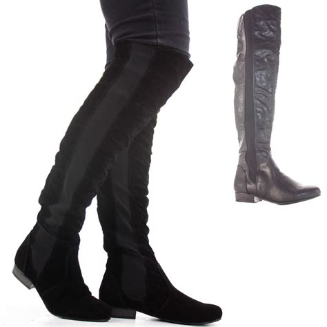 wide calf thigh high heel boots womens thigh high knee flat stretch low heel wide