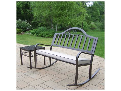 wrought iron bench with cushion oakland living rochester wrought iron rocking bench set