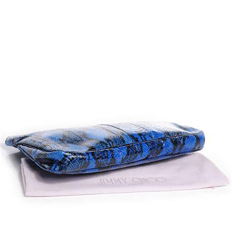 Jimmy Choo Anaconda Clutch by Jimmy Choo Snake Embossed Zulu Canvas Clutch Blue 66448