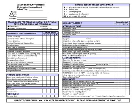 Report Card Template Palm County by Kindergarten Report Card Template Free Preschool