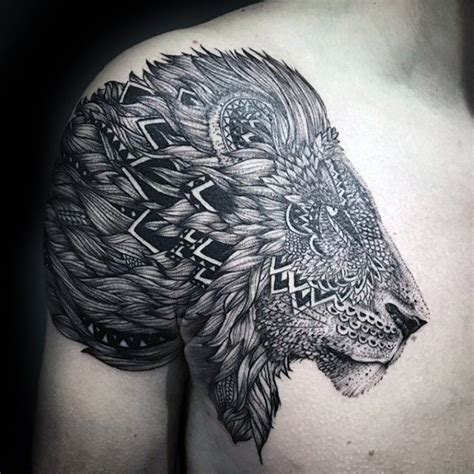 pattern head tattoo 50 lion shoulder tattoo designs for men masculine ink ideas