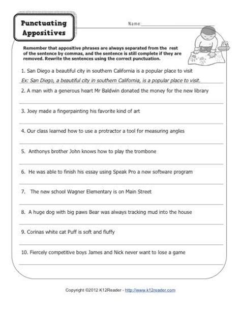 Appositive Worksheets by Punctuating Appositives Printable Appositive Worksheets