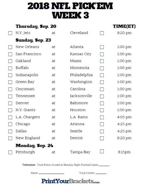 printable nfl schedule with odds printable nfl week 3 schedule pick em pool 2018
