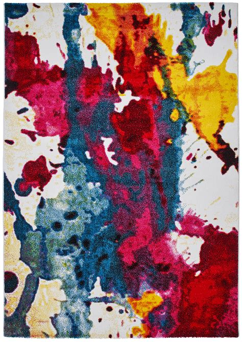 Rug Painting by Multi Colour Paint Splash Effect Rug 100 Polypropylene