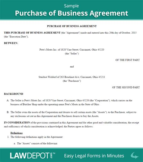 Business Letter Sle Contract Purchase Of Business Agreement Template Us Lawdepot