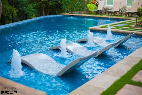 Best Pool Lounge Chairs Design Ideas Modern Swimming Pool Rectangle Frame Clear Glass Window Leather Comfy Thin Mattress Garden